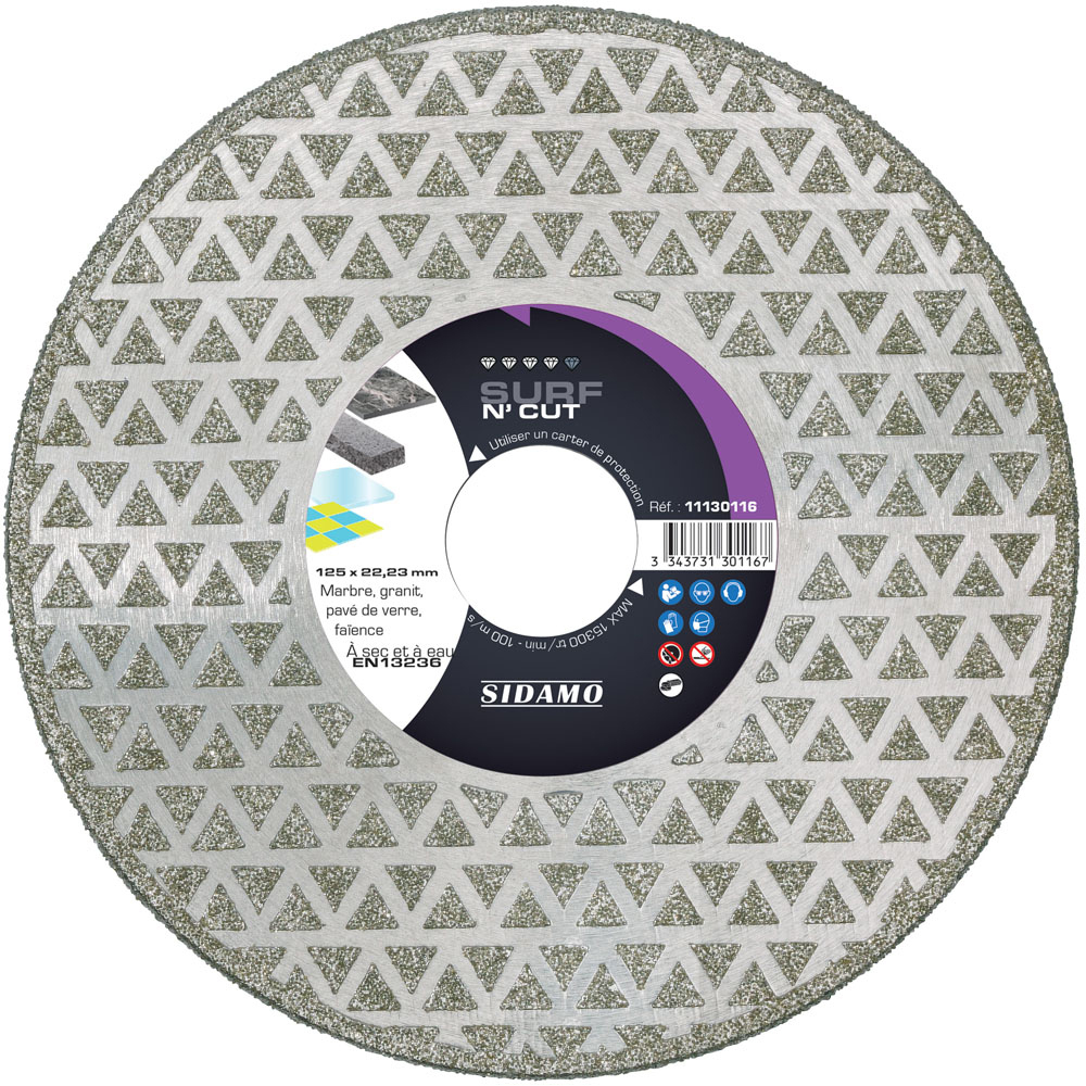 Sidamo 125 x 22,23 x H 3 mm Marbre//granit Sidamo Disque diamant SURF N CUT D 11130116